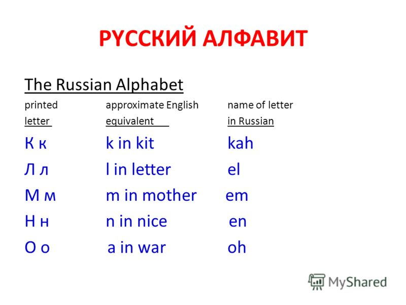 РYССКИЙ АЛФАВИТ The Russian Alphabet printedapproximate Englishname of letter letter equivalent in Russian К к k in kit kah Л л l in letter el М м m in mother em Н н n in nice en О о a in war oh