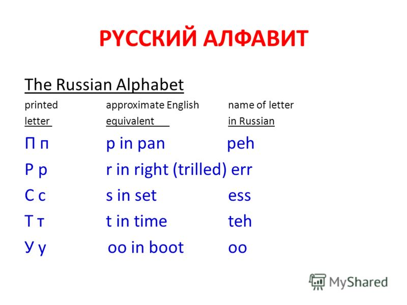 РYССКИЙ АЛФАВИТ The Russian Alphabet printedapproximate Englishname of letter letter equivalent in Russian П п p in pan peh Р р r in right (trilled) err С с s in set ess Т т t in time teh У у oo in boot oo