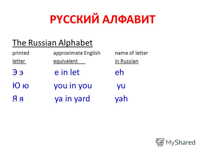 РYССКИЙ АЛФАВИТ The Russian Alphabet printedapproximate Englishname of letter letter equivalent in Russian Э э e in let eh Ю ю you in you yu Я я ya in yardyah