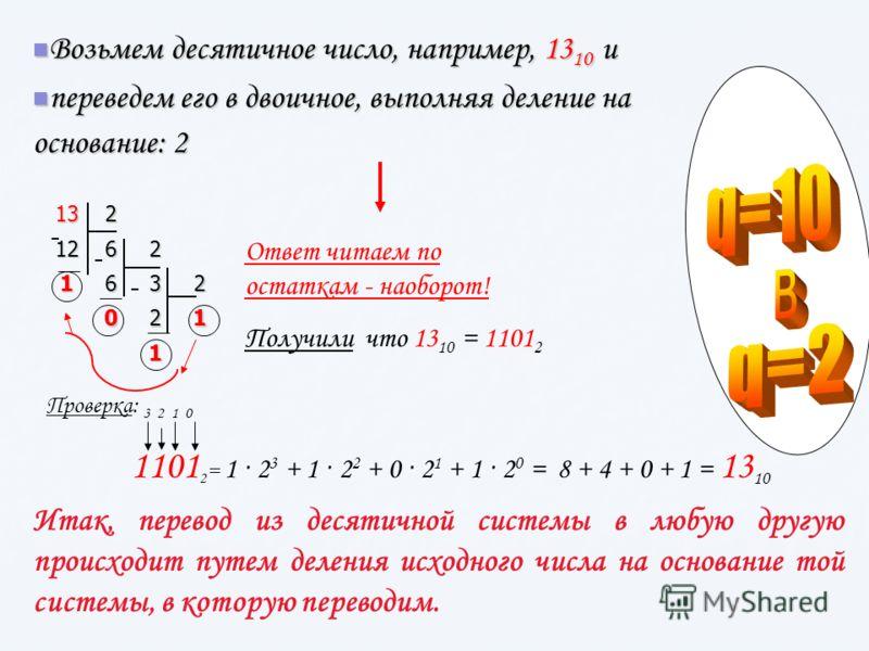 Возьмем десятичное число, например, 13 10 и Возьмем десятичное число, например, 13 10 и переведем его в двоичное, выполняя деление на основание: 2 переведем его в двоичное, выполняя деление на основание: 2 1313131321262 1632 021 1 Ответ читаем по ост