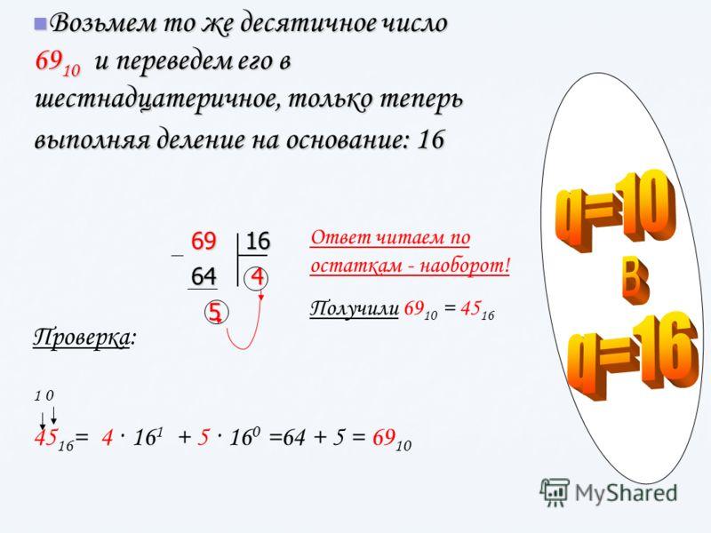 Возьмем то же десятичное число 69 10 и переведем его в шестнадцатеричное, только теперь выполняя деление на основание: 16 Возьмем то же десятичное число 69 10 и переведем его в шестнадцатеричное, только теперь выполняя деление на основание: 166916644