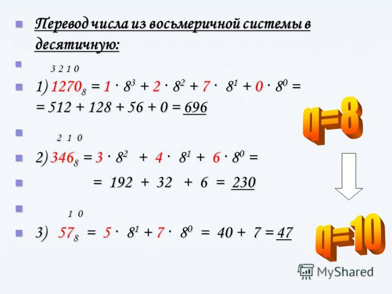 Перевод числа из восьмеричной системы в десятичную: Перевод числа из восьмеричной системы в десятичную: 3 2 1 0 3 2 1 0 1) 1270 8 = 1 · 8 3 + 2 · 8 2 + 7 · 8 1 + 0 · 8 0 = = 512 + 128 + 56 + 0 = 696 1) 1270 8 = 1 · 8 3 + 2 · 8 2 + 7 · 8 1 + 0 · 8 0 =