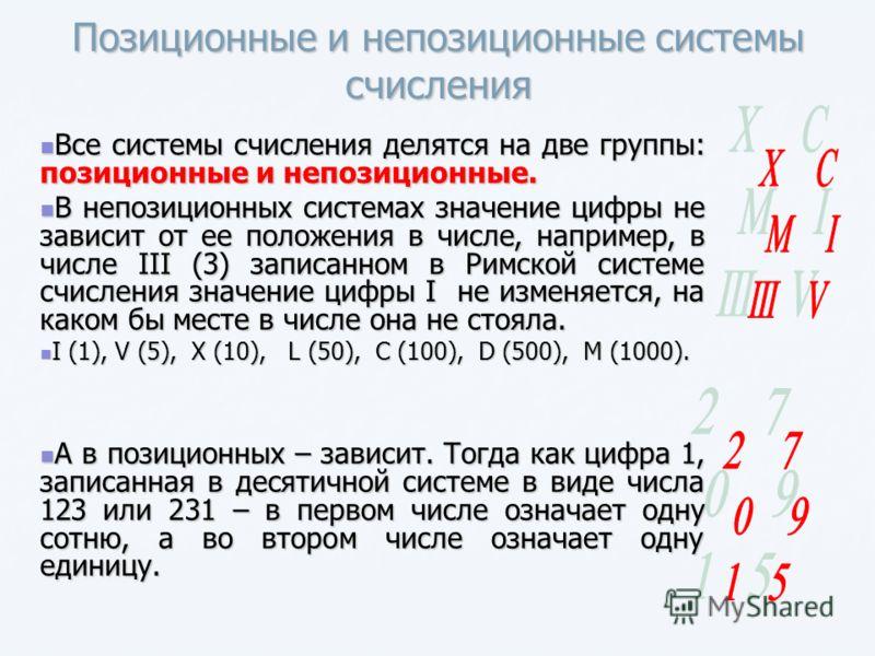 Позиционные и непозиционные системы счисления Все системы счисления делятся на две группы: позиционные и непозиционные. Все системы счисления делятся на две группы: позиционные и непозиционные. В непозиционных системах значение цифры не зависит от ее