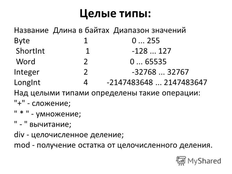 Целые типы: Название Длина в байтах Диапазон значений Byte 1 0... 255 ShortInt 1 -128... 127 Word 2 0... 65535 Integer 2 -32768... 32767 LongInt 4 -2147483648... 2147483647 Над целыми типами определены такие операции: