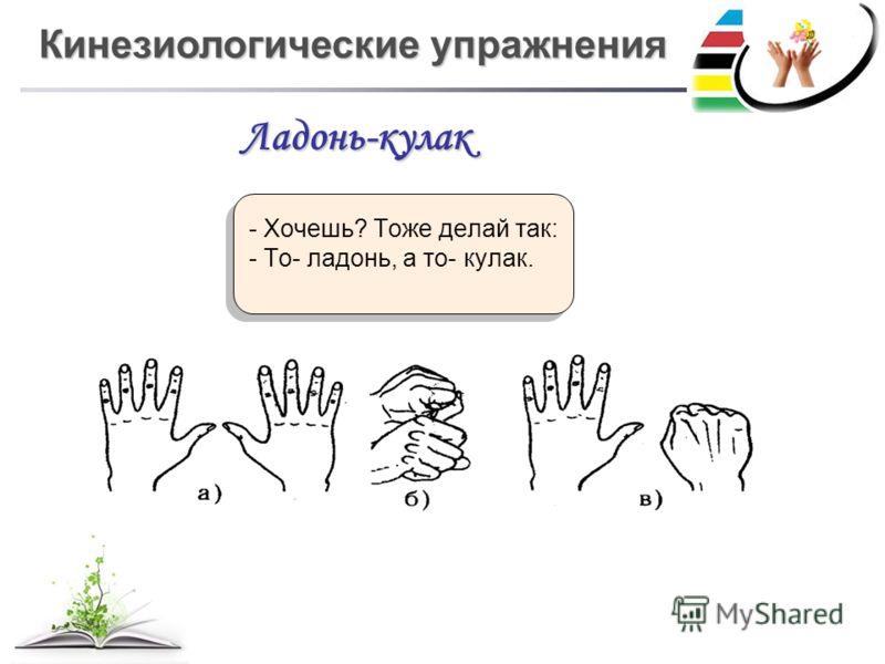 Кинезиологические упражнения - Хочешь? Тоже делай так: - То- ладонь, а то- кулак. - Хочешь? Тоже делай так: - То- ладонь, а то- кулак. Ладонь-кулак