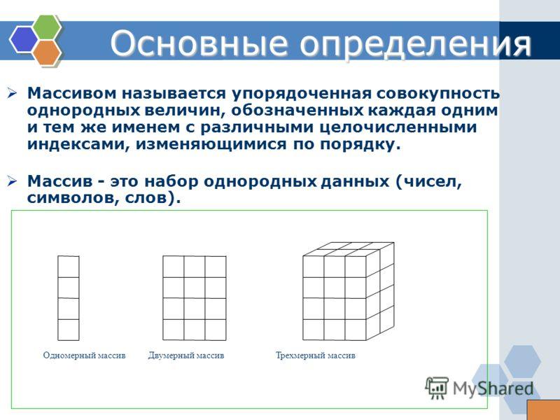 Массивом называется упорядоченная совокупность однородных величин, обозначенных каждая одним и тем же именем с различными целочисленными индексами, изменяющимися по порядку. Массив - это набор однородных данных (чисел, символов, слов). Основные опред