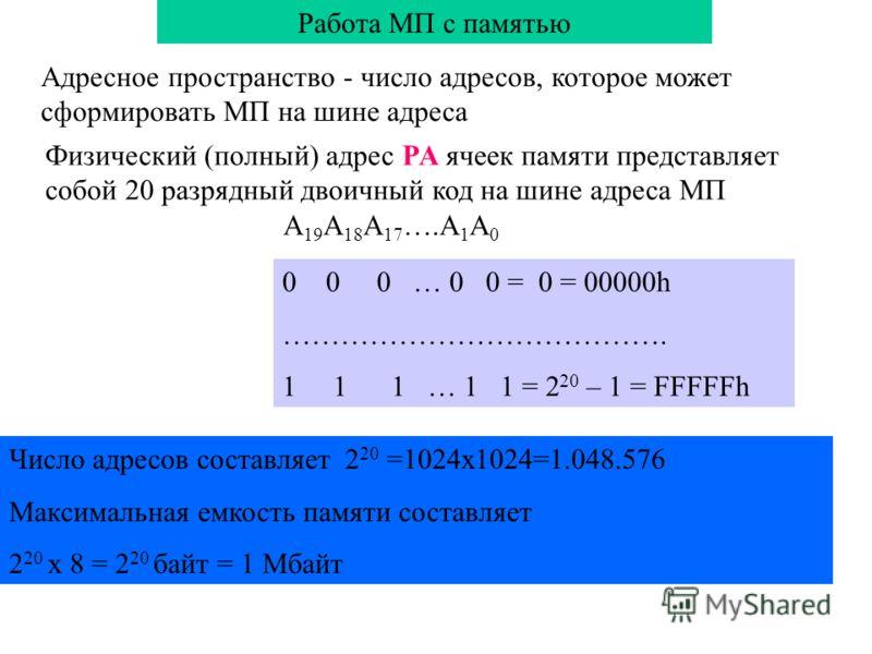 Работа МП с памятью Адресное пространство - число адресов, которое может сформировать МП на шине адреса Физический (полный) адрес PA ячеек памяти представляет собой 20 разрядный двоичный код на шине адреса МП A 19 A 18 A 17 ….A 1 A 0 Число адресов со