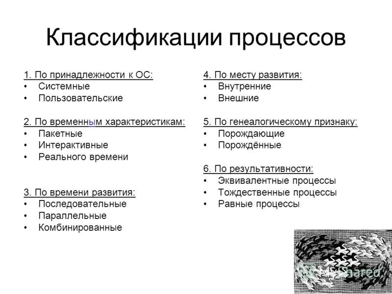 Классификации процессов 1. По принадлежности к ОС: Системные Пользовательские 2. По временным характеристикам: Пакетные Интерактивные Реального времени 3. По времени развития: Последовательные Параллельные Комбинированные 4. По месту развития: Внутре