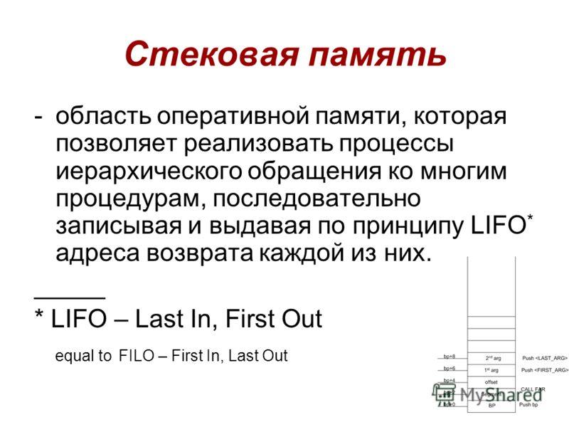 Стековая память -область оперативной памяти, которая позволяет реализовать процессы иерархического обращения ко многим процедурам, последовательно записывая и выдавая по принципу LIFO * адреса возврата каждой из них. _____ * LIFO – Last In, First Out