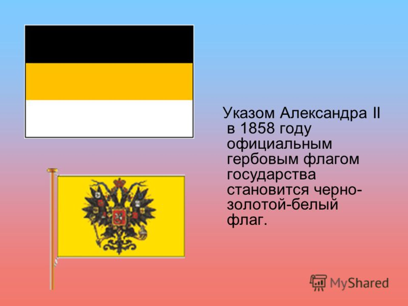 Указом Александра II в 1858 году официальным гербовым флагом государства становится черно- золотой-белый флаг.