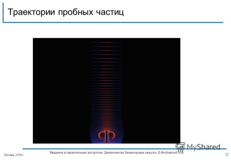 Траектории пробных частиц Москва, 2009 г. 22 Введение в параллельные алгоритмы: Динамическая балансировка загрузки © Якобовский М.В.