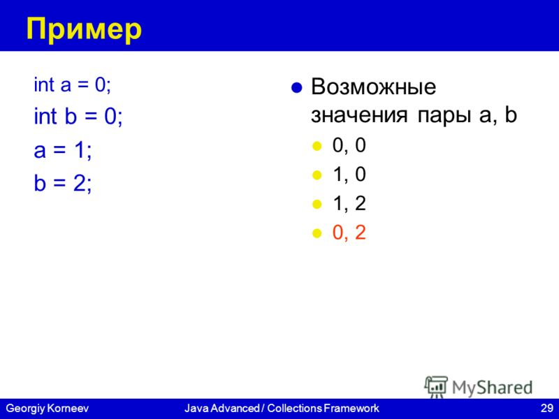 29Georgiy KorneevJava Advanced / Collections Framework Пример int a = 0; int b = 0; a = 1; b = 2; Возможные значения пары а, b 0, 0 1, 0 1, 2 0, 2