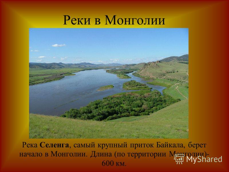 Реки в Монголии Река Селенга, самый крупный приток Байкала, берет начало в Монголии. Длина (по территории Монголии)- 600 км.