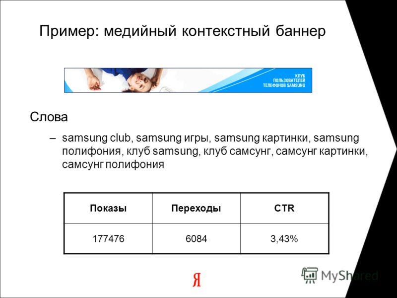 Пример: медийный контекстный баннер Слова –samsung club, samsung игры, samsung картинки, samsung полифония, клуб samsung, клуб самсунг, самсунг картинки, самсунг полифония ПоказыПереходыCTR 17747660843,43%