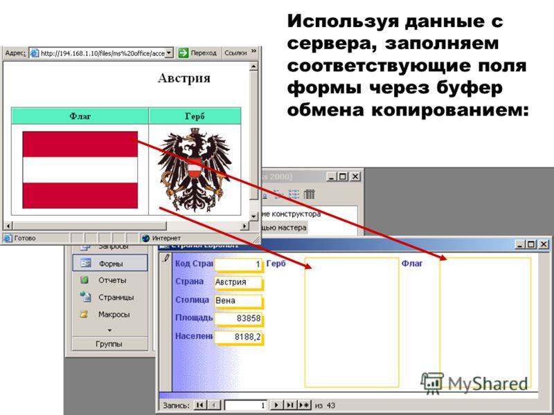Используя данные с сервера, заполняем соответствующие поля формы через буфер обмена копированием: