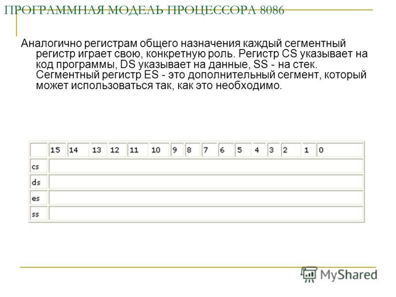 ПРОГРАММНАЯ МОДЕЛЬ ПРОЦЕССОРА 8086 Аналогично регистрам общего назначения каждый сегментный регистр играет свою, конкретную роль. Регистр CS указывает на код программы, DS указывает на данные, SS - на стек. Сегментный регистр ES - это дополнительный