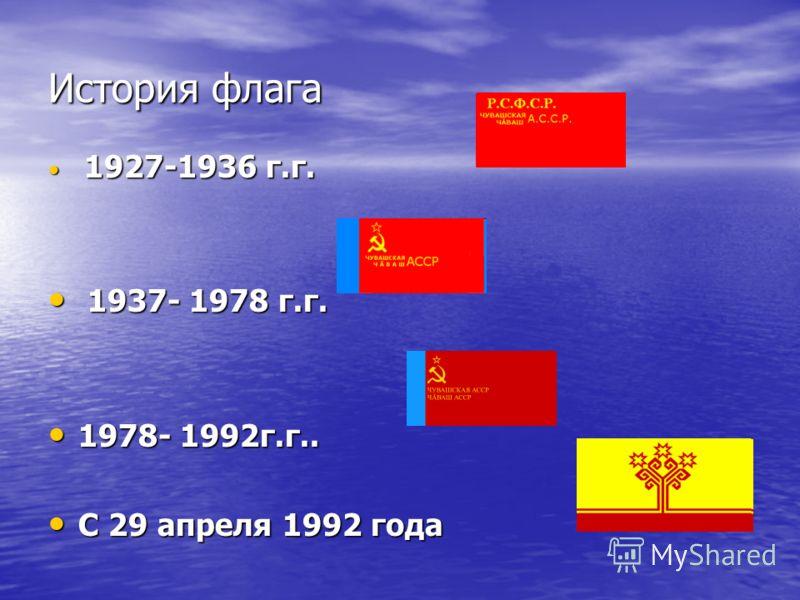История флага 1927-1936 г.г. 1927-1936 г.г. 1937- 1978 г.г. 1937- 1978 г.г. 1978- 1992г.г.. 1978- 1992г.г.. С 29 апреля 1992 года С 29 апреля 1992 года