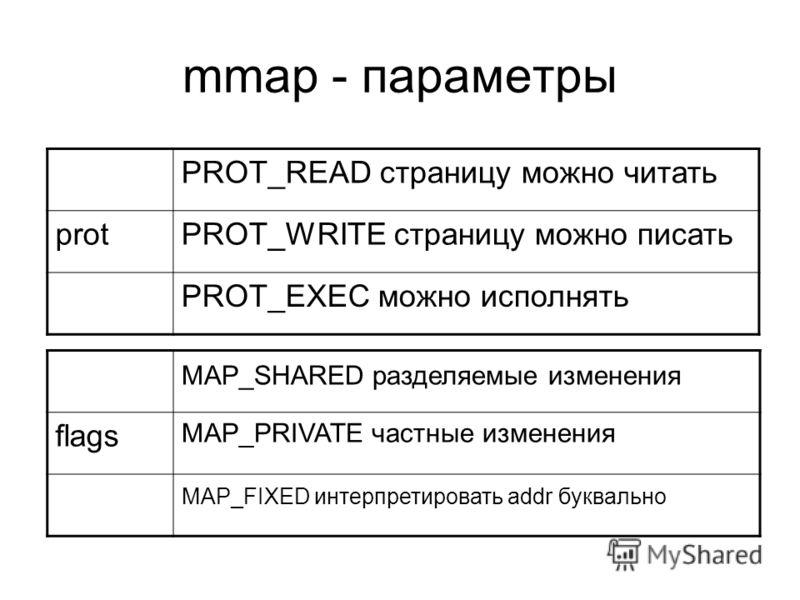 mmap - параметры PROT_READ страницу можно читать protPROT_WRITE страницу можно писать PROT_EXEC можно исполнять MAP_SHARED разделяемые изменения flags MAP_PRIVATE частные изменения MAP_FIXED интерпретировать addr буквально