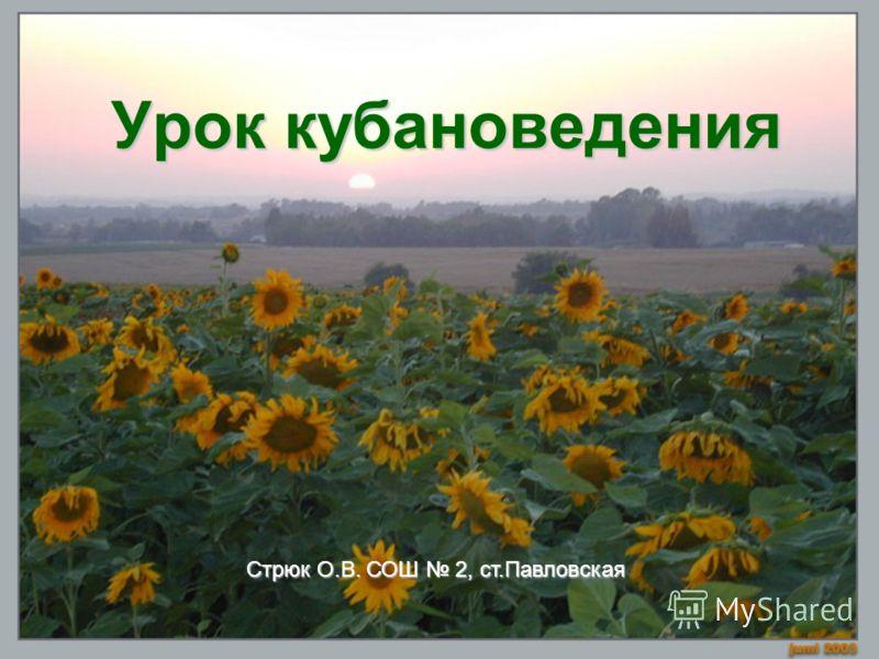 Урок кубановедения Стрюк О.В. СОШ 2, ст.Павловская