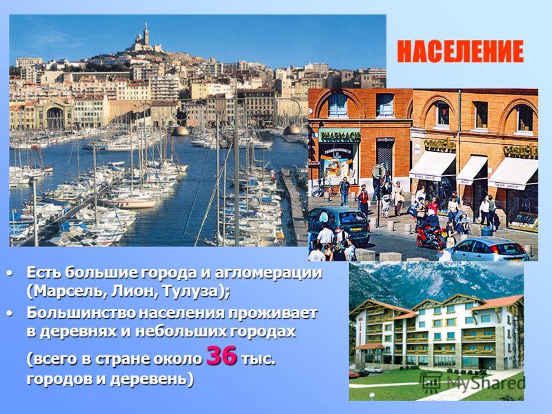 НАСЕЛЕНИЕ Есть большие города и агломерации (Марсель, Лион, Тулуза); Большинство населения проживает в деревнях и небольших городах (всего в стране около 36 тыс. городов и деревень)
