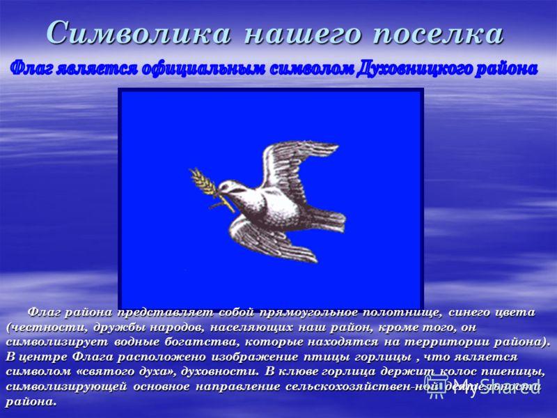 Символика нашего поселка Флаг района представляет собой прямоугольное полотнище, синего цвета (честности, дружбы народов, населяющих наш район, кроме того, он символизирует водные богатства, которые находятся на территории района). В центре Флага рас