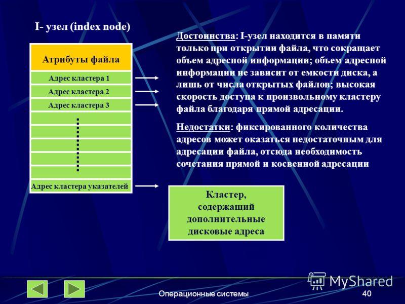 Операционные системы40 Атрибуты файла Адрес кластера 1 Адрес кластера 2 Адрес кластера 3 I- узел (index node) Адрес кластера указателей Кластер, содержащий дополнительные дисковые адреса Достоинства: I-узел находится в памяти только при открытии файл