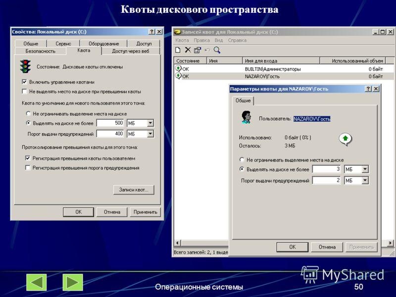 Операционные системы50 Квоты дискового пространства