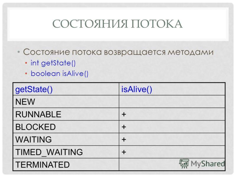СОСТОЯНИЯ ПОТОКА Состояние потока возвращается методами int getState() boolean isAlive()