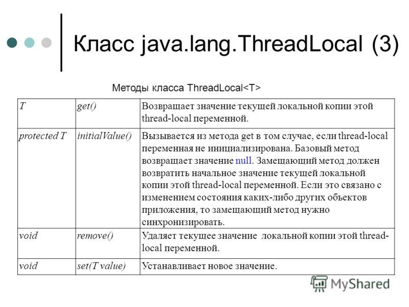 Класс java.lang.ThreadLocal (3) Tget()Возвращает значение текущей локальной копии этой thread-local переменной. protected TinitialValue()Вызывается из метода get в том случае, если thread-local переменная не инициализирована. Базовый метод возвращает