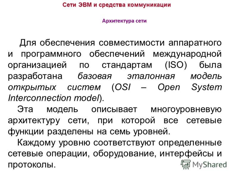 Архитектура сети Сети ЭВМ и средства коммуникации Для обеспечения совместимости аппаратного и программного обеспечений международной организацией по стандартам (ISO) была разработана базовая эталонная модель открытых систем (OSI – Open System Interco