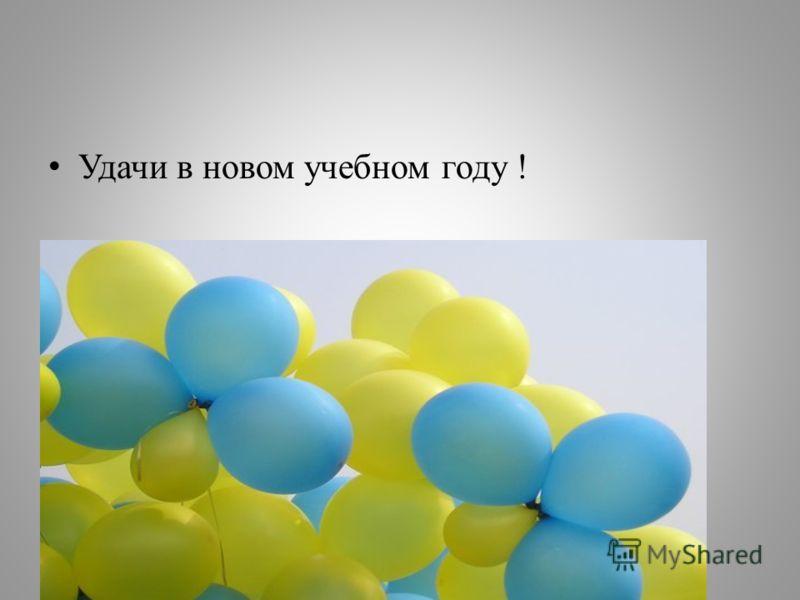 Удачи в новом учебном году !