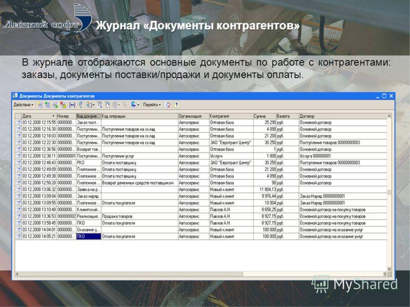 В журнале отображаются основные документы по работе с контрагентами: заказы, документы поставки/продажи и документы оплаты.