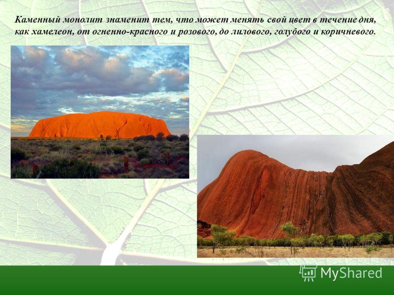 Каменный монолит знаменит тем, что может менять свой цвет в течение дня, как хамелеон, от огненно-красного и розового, до лилового, голубого и коричневого.