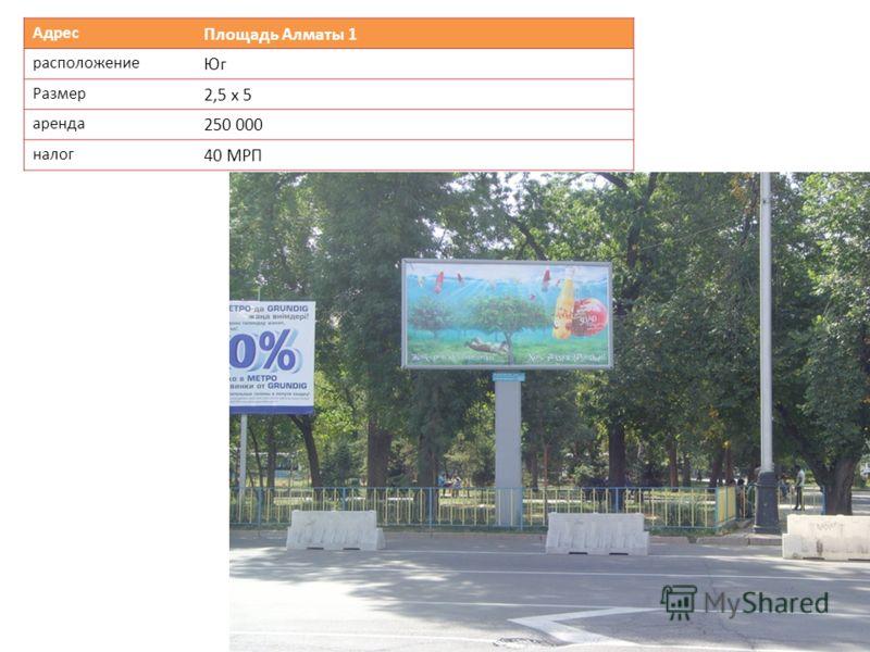 Адрес Площадь Алматы 1 расположение Юг Размер 2,5 х 5 аренда 250 000 налог 40 МРП