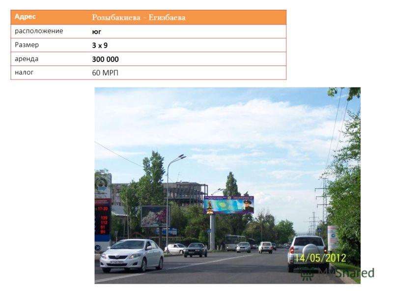 Адрес Розыбакиева - Егизбаева расположение юг Размер 3 х 9 аренда 300 000 налог 60 МРП