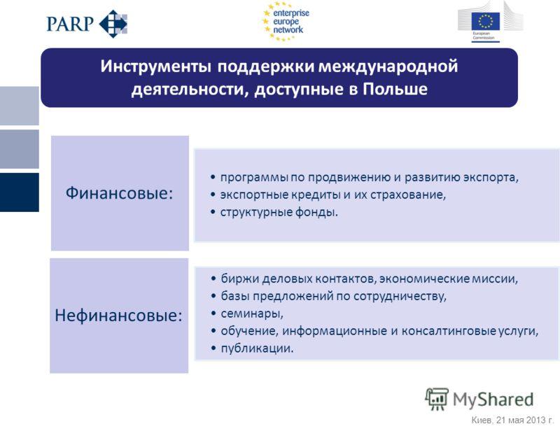 Киев, 21 мая 2013 г. программы по продвижению и развитию экспорта, экспортные кредиты и их страхование, структурные фонды. Финансовые: биржи деловых контактов, экономические миссии, базы предложений по сотрудничеству, семинары, обучение, информационн