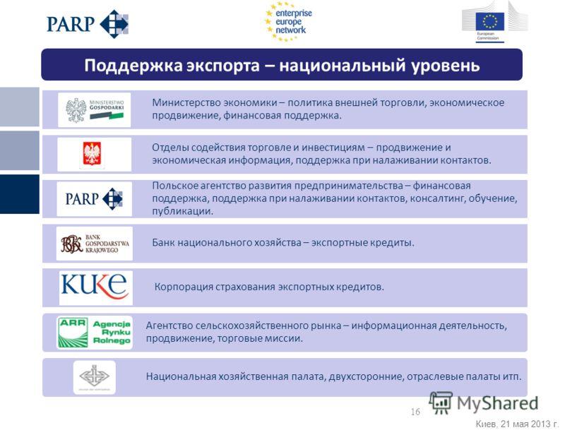 Киев, 21 мая 2013 г. Министерство экономики – политика внешней торговли, экономическое продвижение, финансовая поддержка. Отделы содействия торговле и инвестициям – продвижение и экономическая информация, поддержка при налаживании контактов. Польское