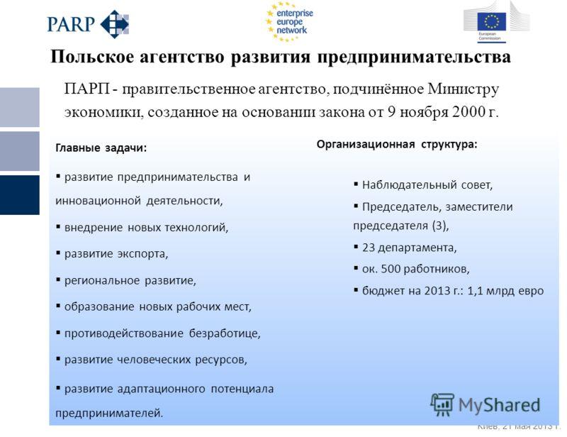 Киев, 21 мая 2013 г. Польское агентство развития предпринимательства ПАРП - правительственное агентство, подчинённое Министру экономики, созданное на основании закона от 9 ноября 2000 г. Главные задачи: развитие предпринимательства и инновационной де