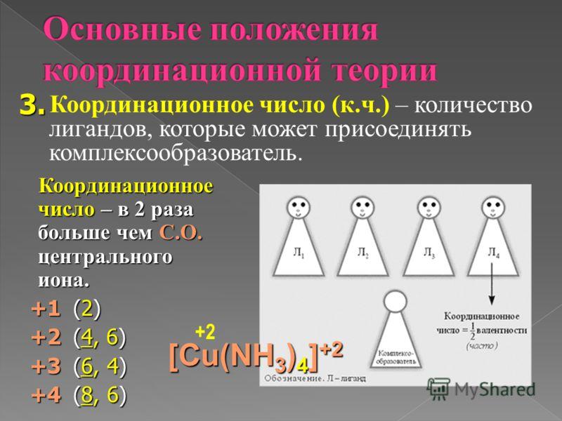 Координационное число (к.ч.) – количество лигандов, которые может присоединять комплексообразователь. 3. Координационное число – в 2 раза больше чем С.О. центрального иона. Координационное число – в 2 раза больше чем С.О. центрального иона. +1(2) +1(