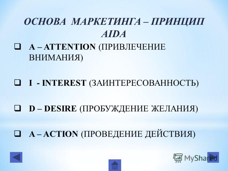 ОСНОВА МАРКЕТИНГА – ПРИНЦИП AIDA А – ATTENTION (ПРИВЛЕЧЕНИЕ ВНИМАНИЯ) I - INTEREST (ЗАИНТЕРЕСОВАННОСТЬ) D – DESIRE (ПРОБУЖДЕНИЕ ЖЕЛАНИЯ) A – ACTION (ПРОВЕДЕНИЕ ДЕЙСТВИЯ)