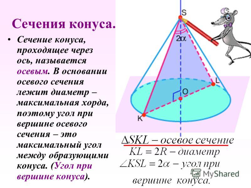 Сечение конуса, проходящее через ось, называется осевым. В основании осевого сечения лежит диаметр – максимальная хорда, поэтому угол при вершине осевого сечения – это максимальный угол между образующими конуса. (Угол при вершине конуса).
