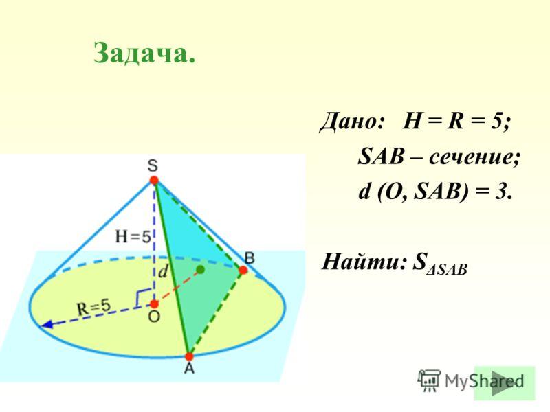 Задача. Дано: H = R = 5; SAB – сечение; d (O, SAB) = 3. Найти: S ΔSAB