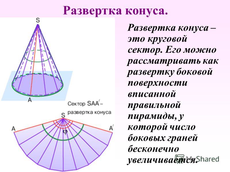Развертка конуса. Р азвертка конуса – это круговой сектор. Его можно рассматривать как развертку боковой поверхности вписанной правильной пирамиды, у которой число боковых граней бесконечно увеличивается.
