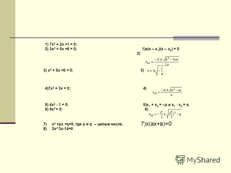 1) 7x 2 + 2x +1 = 0; 2) 3x 2 + 5x +6 = 0; 1)a(x – x 1 )(x – x 2 ) = 0 2) 3) x 2 + 5x +6 = 0; 3) 4)7x 2 + 3x = 0; 4) 5) 4x 2 - 1 = 0; 5)x 1 + x 2 = –p и x 1 · x 2 = q 6) 9x 2 = 0; 6) 7)x 2 +px +q=0, где p и q – целые числа. 8)2х 2- 3х-14=0 7)х(ах+в)=0
