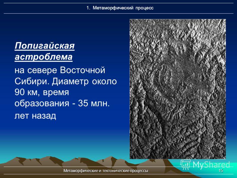 Метаморфические и тектонические процессы15 Попигайская астроблема на севере Восточной Сибири. Диаметр около 90 км, время образования - 35 млн. лет назад 1. Метаморфический процесс