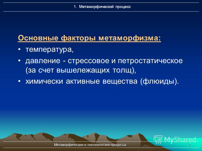 Метаморфические и тектонические процессы7 Основные факторы метаморфизма: температура, давление - стрессовое и петростатическое (за счет вышележащих толщ), химически активные вещества (флюиды). 1. Метаморфический процесс