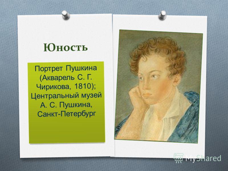 Юность Портрет Пушкина (Акварель С. Г. Чирикова, 1810); Центральный музей А. С. Пушкина, Санкт-Петербург