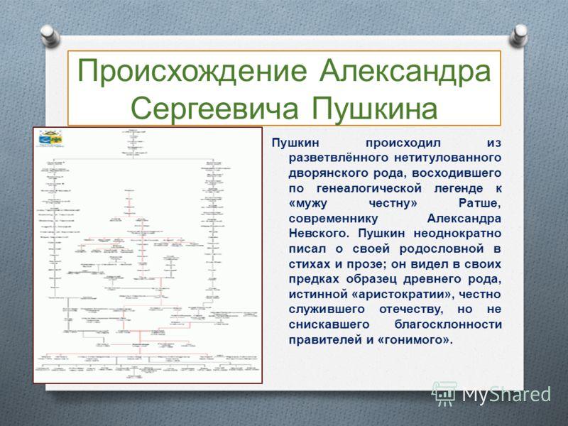 Происхождение Александра Сергеевича Пушкина Пушкин происходил из разветвлённого нетитулованного дворянского рода, восходившего по генеалогической легенде к « мужу честну » Ратше, современнику Александра Невского. Пушкин неоднократно писал о своей род