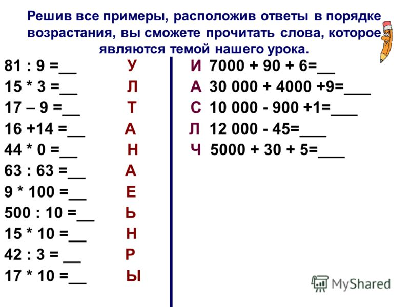 Решив все примеры, расположив ответы в порядке возрастания, вы сможете прочитать слова, которое являются темой нашего урока. 81 : 9 =__ У И7000 + 90 + 6=__ 15 * 3 =__Л А 30 000 + 4000 +9=___ 17 – 9 =__Т С10 000 - 900 +1=___ 16 +14 =__ А Л12 000 - 45=