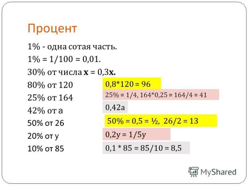 Процент 1% - одна сотая часть. 1% = 1/100 = 0,01. 30% от числа х = 0,3 х. 80% от 120 25% от 164 42% от a 50% от 26 20% от y 10% от 85 0,8*120 = 96 25% = 1/4, 164*0,25 = 164/4 = 41 0,42 а 50% = 0,5 = ½, 26/2 = 13 0,2 у = 1/5 у 0,1 * 85 = 85/10 = 8,5
